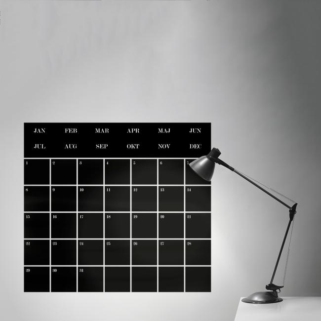 Forskjellige Månedskalender - tavlekalender til hjemmet i tavlefolie UM-64