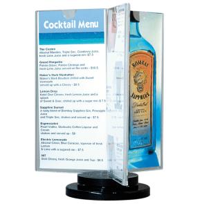 roterende menuholder, menukort holder, holder til menu, roterende menustander, prisskilt