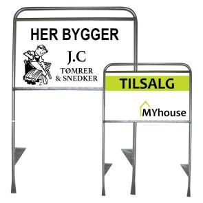 Byggepladsskilte - Skilt med trædeplade - Ejendomsmælgerskilt - Bedste kvalitet til laveste pris - Skilt til byggeplads - Små og store byggepladsskilte