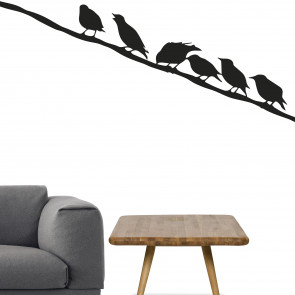 Wallsticker med fugle på snor - Wallsticker til stuen - Fugle på en snor - Wallsticker i bedste kvalitet og til den laveste pris