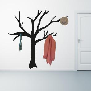 Træ - Wallsticker, der kan bruges som stumtjener - Wallsticker, perfekt til knager - Kreativ knagerække - Wallsticker til entre