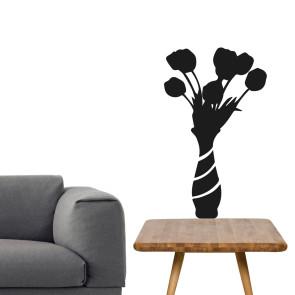 Wallsticker vase - Humoristisk wallsticker - Wallsticker til stuen - Blomster i vase - Vægdekoration til din stue