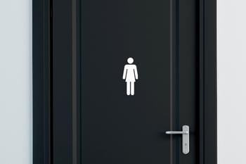 Dametoilet-skilt i høj kvalitet. Se vores udvalg af selvklæbende skilte her